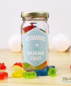 Fraco de 99ml con frase vitamina buena vibra