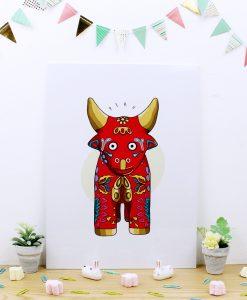 Cuadro de trúpan con ilustracion Toro