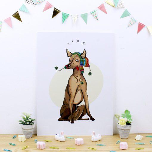 cuadro de trúpan con diseño de perro peruano