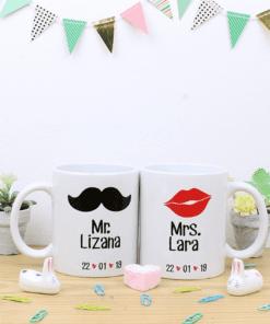 tazas pareja blanca con diseños personalizables con nombre, fechas o fotos
