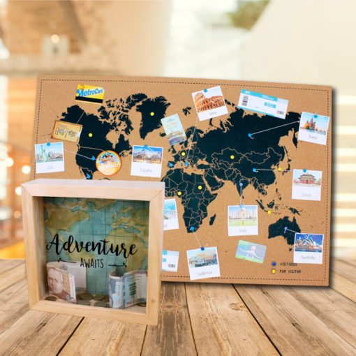 Pack de alcancia +corcho mundial viajero