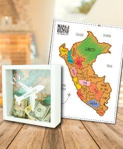 Alcancia blanca para ahorrar dinero y mapa del peru para raspar