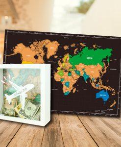 Mapa mundial para raspar en fondo negro con alcancia personalizada color blanco