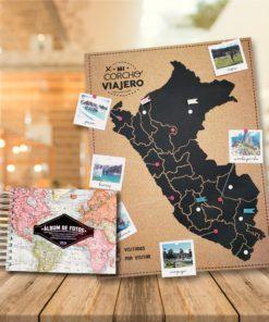 Album con diseño del mapa mundial y corcho peruano