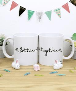 tazas pareja blancas con diseño better together