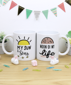 tazas pareja blancas con diseño