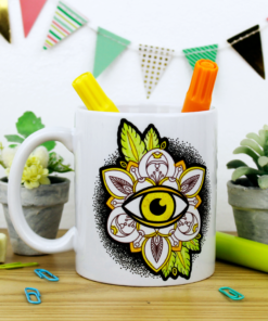 taza blanca para pintar con plumón especial de cerámica