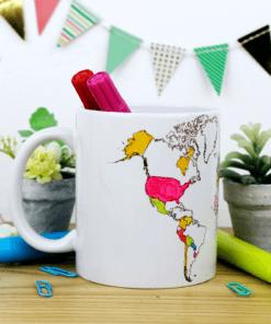 taza blanca para pintar con plumones especial, diseño del mapa mundial