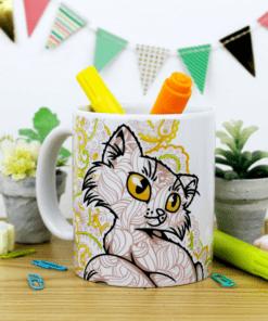 Taza para pintar con diseño de gato