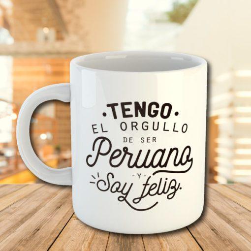 Taza blanca de 11oz con ilustración peruana
