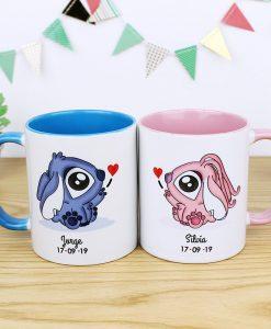 Tazas pareja colo interior azul y rosado con diseño de stitch y angel