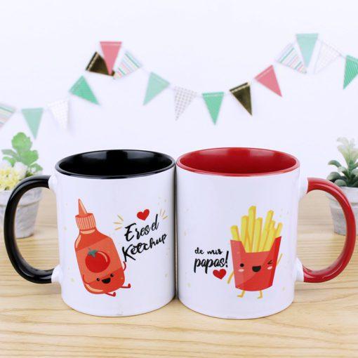 taza pareja en color negro y rojo con diseño