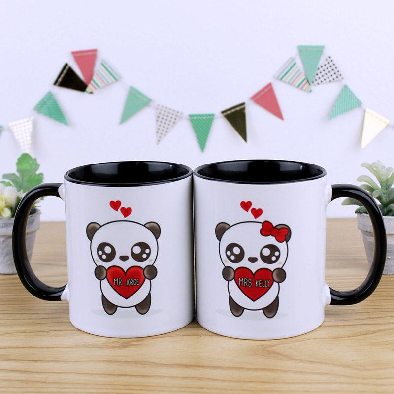 Tazas pareja con color interior negro y diseño de panda personalizable con nombres